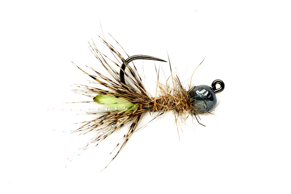Peeping Caddis Jig Burnt Green (TBH) Barbless