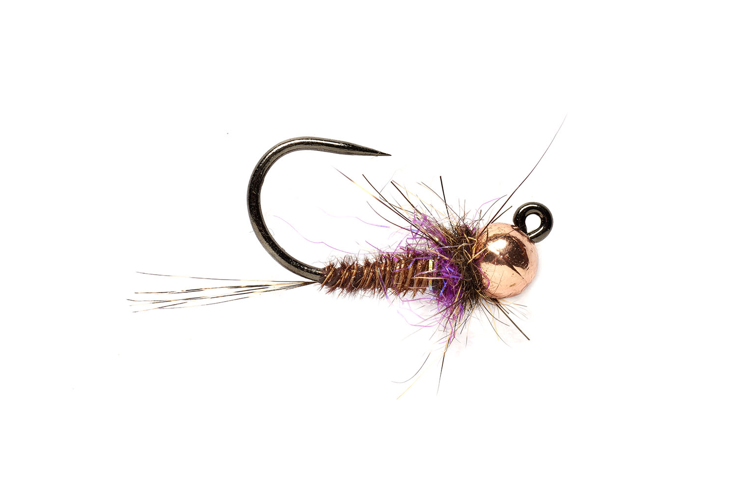 Hot Spot Pheasant Tail Jig Purple Barbless