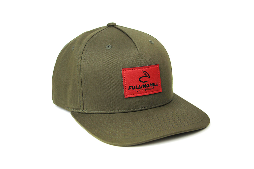 Pinch Front Cotton Green Cap with Leather FM Logo
