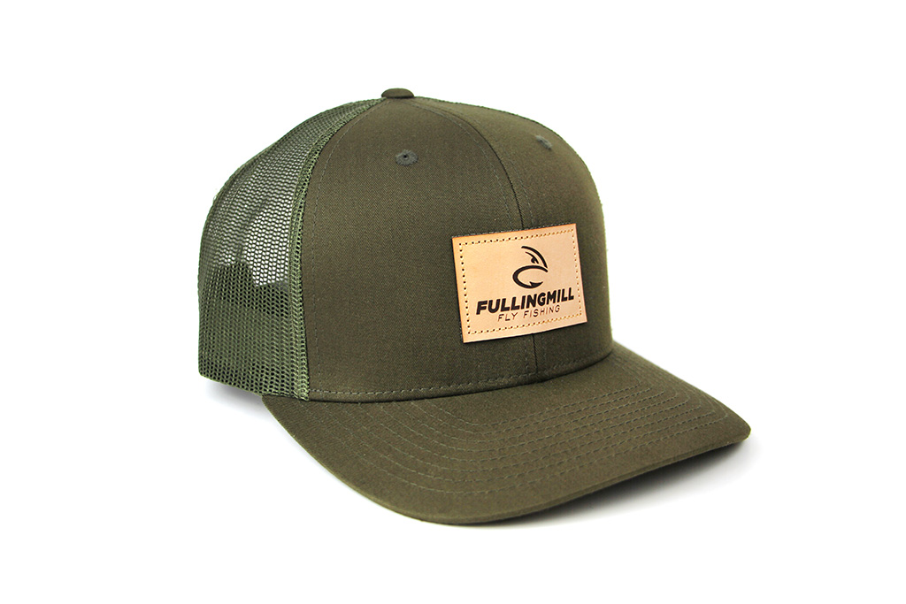 Pre Curved Trucker Green Cap with Leather FM Logo